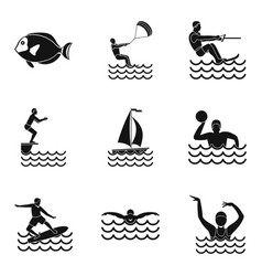 Water fun icons set simple style vector