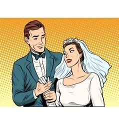 Wedding betrothal engagement groom bride love vector