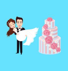 wedding cake groom and bride newlywed vector image