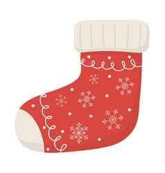 white background with red sock celebration merry vector image