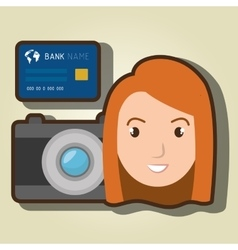 woman camera tickets travel vector image
