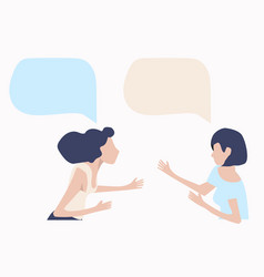 womans talk with speech bubbles vector image
