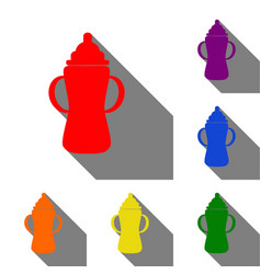 baby bottle sign set of red orange yellow vector image