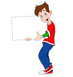 teenager holding blank sign vector image vector image