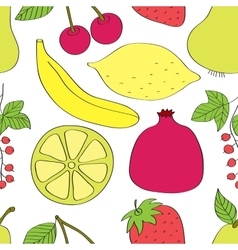 Vegetables and fruits pattern vector image vector image