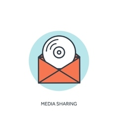 Flat lined compact disk icon Email icon Media vector image