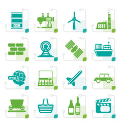 stylized simple business and industry icons vector image vector image