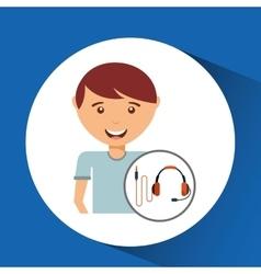 teen cartoon with headphones design vector image
