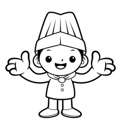 black and white funny chef mascot welcome vector image