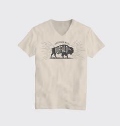 buffalo american wild t-shirt design template vector image