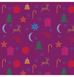 Christmas and New Year seamless purple pattern vector image vector image