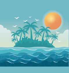 colorful poster sky landscape of palm trees on the vector image vector image