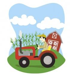 farmer on a tractor vector image