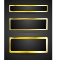 Golden metal banner frame border vector image
