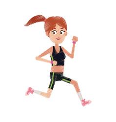 Happy woman running cartoon icon image vector