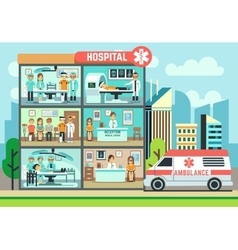 Hospital medical clinic building ambulance with vector image