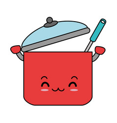 kitchen pot with ladle kawaii character vector image