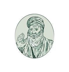 Sikh guru priest waving etching vector