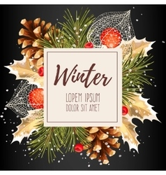 Card with winter cherry vector image vector image