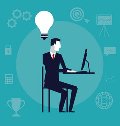 color background with executive man sitting in vector image vector image