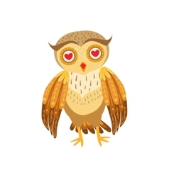 Owl In Love Cute Cartoon Character Emoji With vector image vector image