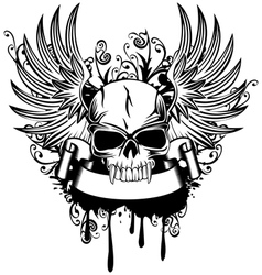 skull with wings 1 vector image