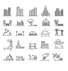 urban scenery elements black thin line icon set vector image vector image