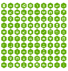 100 loader icons hexagon green vector