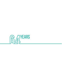 64 years anniversary or birthday linear outline vector