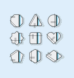 abstract black pop art emblems set on blue vector image