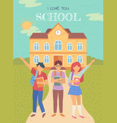 back to school students with satchels and books vector image