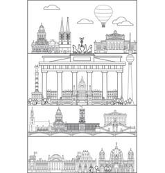 berlin skyline line art 11 vector image
