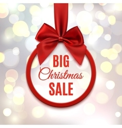 Big Christmas sale round banner with red ribbon vector image