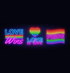 big set neon sign lgbt neon signs design vector image