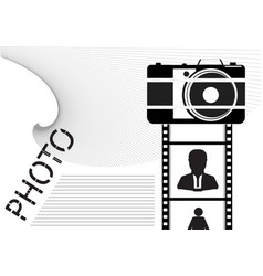 Black camera and film with icons on a white vector