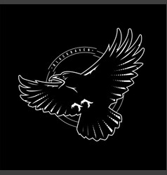 black raven in flight logo emblem on a dark vector image