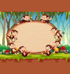 border template design with cute monkeys in forest vector image