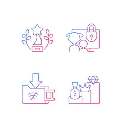 Broadcast services gradient linear icons set vector