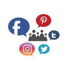 Business social media growth icon logo design vector