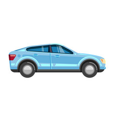car sedan blue automobile side view transport vector image