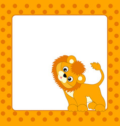 card template with lion cub vector image