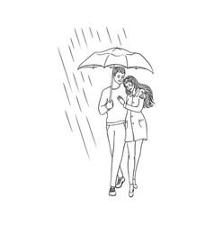 Cartoon couple walking under rain umbrella vector