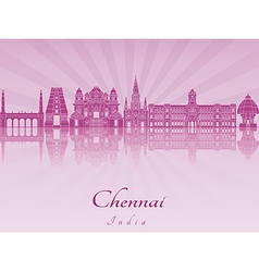 Chennai skyline in purple radiant orchid vector image