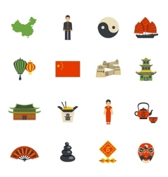 Chinese Culture Symbols Flat Icons Set vector image