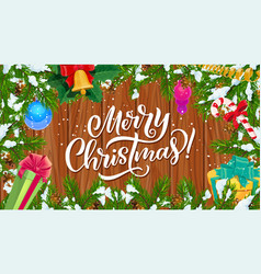 christmas tree frame with xmas gifts and bell vector image