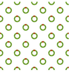 christmas wreath pattern seamless vector image