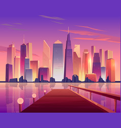 City skyline panoramic view from waterfront pier vector
