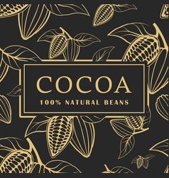cocoa beans with leaves on dark background vector image