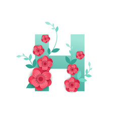 color letter h with beautiful flowers vector image