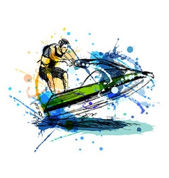 Colored hand sketch rider on a jet ski vector image